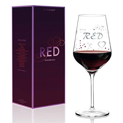 RITZENHOFF rode wijnglas van Sabine Röhse, van kristalglas, 580 ml, met edele platina delen