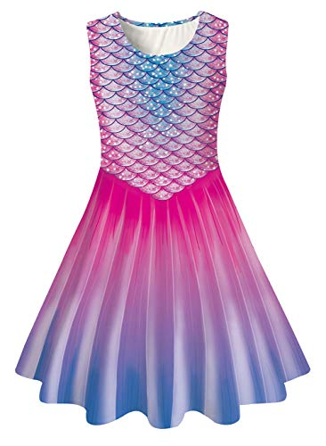 uideazone Little Girls Princess SleevelessMermaid Tail Dress for Casual Holiday Party Summer Dresses
