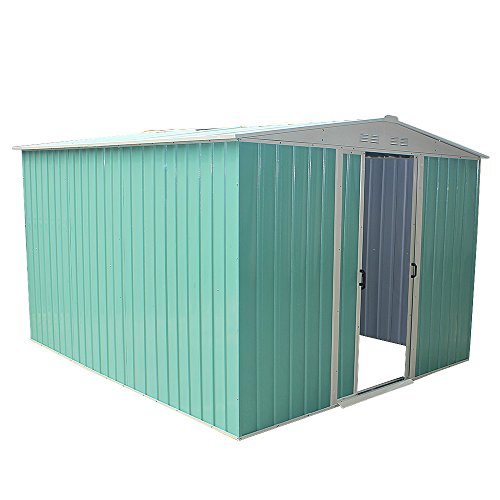 Panana 8 x 10ft Metal Garden Apex Roof Storage Shed with FREE Ground