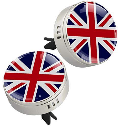 Yumansis Bandera británica Reino Unido Plata 2 Coche difusor aromaterapia Aromas Universal aceites Esenciales esencias aroflora Aleación de Metal+ 4 Almohadillas de Recarga