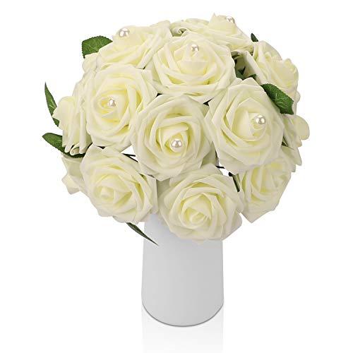 Künstliche Blumen Deco, 20 Künstliche Rosen mit Perlen, Gefälschte Blumen mit Blätter Stiel Kunstblumen für Zuhause Dekoration Braut Hochzeitsblumenstrauß Garten Party Blumenschmuck, Elfenbein Weiß