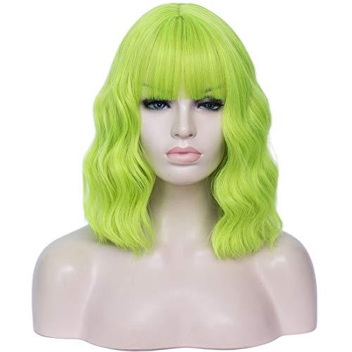 """DWMGLP 14"""" Short Fluorescent Green Curly Wig For Women Girls Heat Resistant Fiber Wigs Halloween Cosplay Daily Party+Cap (Fluorescent Green)"""