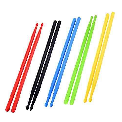 Nylon Drumsticks Set 5 Paar Light Up 5A Drumsticks Anti-Rutsch Durable Musikinstrument Zubehör für Kinder Studenten Professionelle Classic Drumsticks für Fitness Aerobic Training