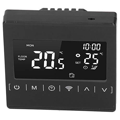 Qinlorgo Termostato de calefacción por Suelo Radiante, termostato Inteligente con Control de Voz, termostato WiFi de 1 Pieza, antiarañazos para Oficina en casa