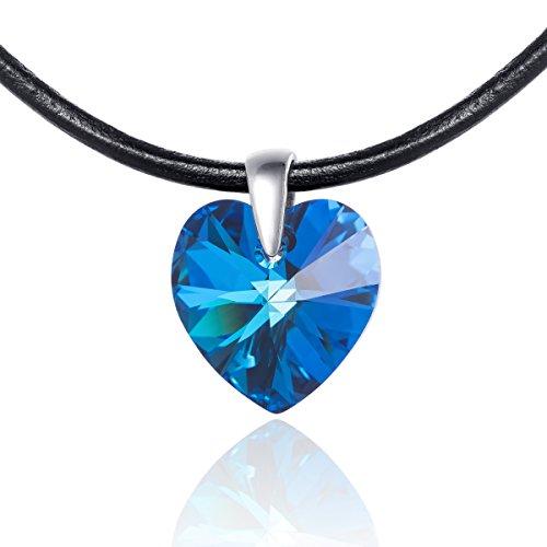 LillyMarie Leren halsketting voor dames, Swarovski Elements, hartje, blauw, in lengte verstelbaar, sieradenzakje, cadeau voor vriendin