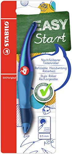 Ergonomischer Tintenroller für Rechtshänder - STABILO EASYoriginal Holograph Edition in blau - Einzelstift - Schreibfarbe blau (löschbar) - inklusive Patrone
