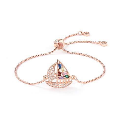 Shangwang B1278-R - Pulsera ajustable con colgante de tortuga, color oro rosa, perlas de regalo para mujer