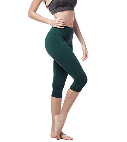 Lapasa Damen 3/4 Sport Leggings, mit Tasche, Super Opak, 3/4 Yoga Sporthose, Damen Capri kurz Training Tights L002 (Dunkelgrün, XL (Taille...