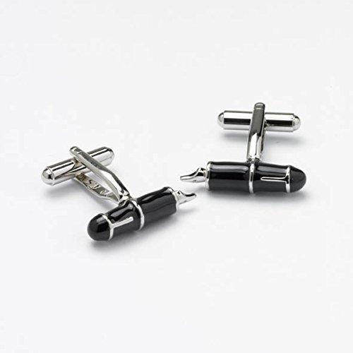Nouveauté Stylo plume Onyx boutons de manchette en acier inoxydable et émail noir poli par Art – Un must pour tous les fans de stylo plume (ck128)