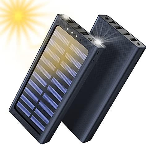 Solar Powerbank, 24000mAh Externer Akku, 4 USB mit 2.4A Ausgänge Tragbares Ladegerät für Aktivitäten im Freien, USB-C Eingang Schnellladen Power Bank Kompatibel für Handy und Tablet
