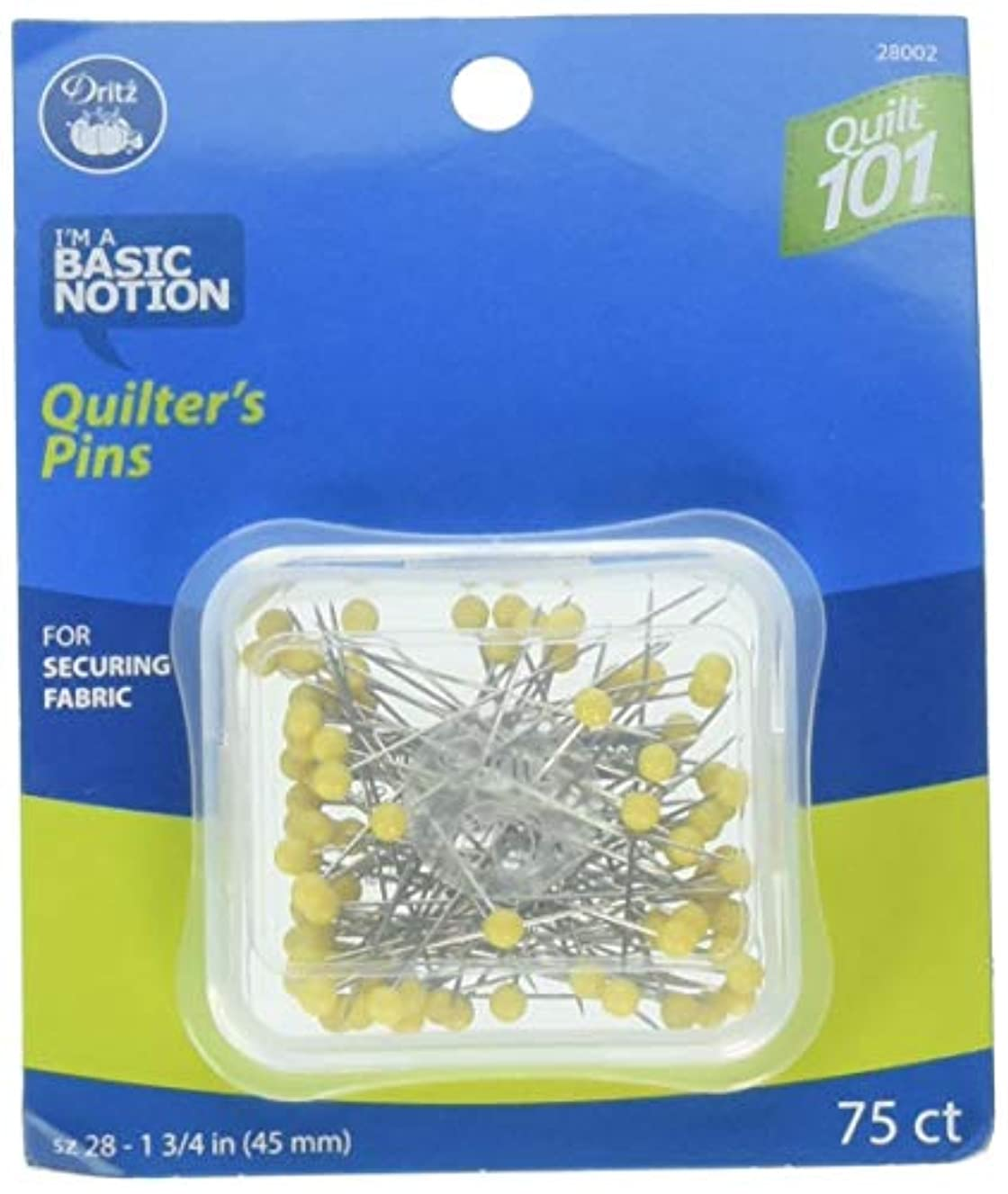 Dritz Quilt 101 28002 Quilting Pins, 1-3/4-Inch, Yellow (75-Count)