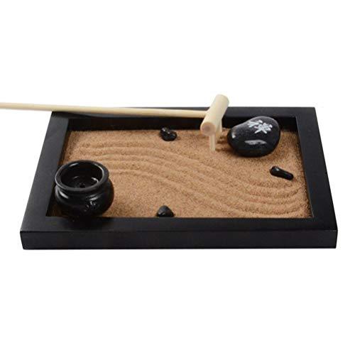 VOSAREA Mini Zen Garden Japanese Miniature Set Sandkasten Landschaft Ornament Sandkasten mit Mini Harke für Meditation Und Entspannung (Stil 1)