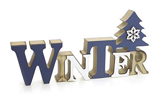 TEMPELWELT Deko Holzaufsteller Schriftzug Winter 23 x 11 cm, Holz Blau Weiß Natur, Landhausstil Aufsteller Dekoschild...