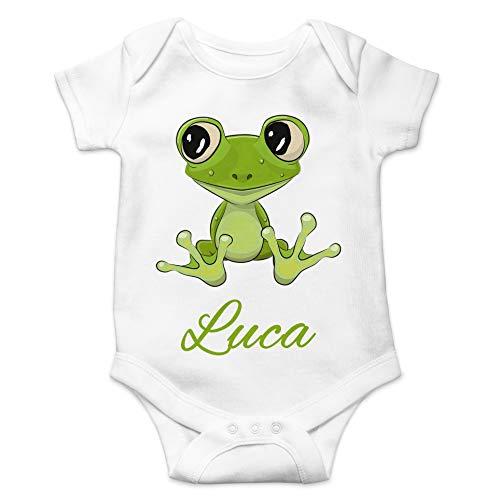 Albers GmbH - Süßer Baby-Body Frosch personalisiert mit Name / 100% Baumwolle
