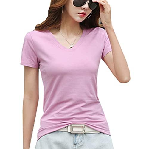 Camiseta de algodón de Manga Corta para Mujer, de Verano, con Cuello en V, de algodón Suelto, de Media Manga, Todo fósforo