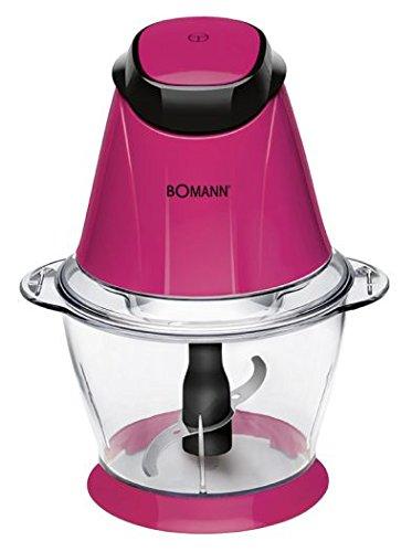 Bomann Haushaltsgeräte 1L 250W Pink, Transparent Zerkleinerer Elektro–picadoras Werkzeugset für Lebensmittel, 1l, pink, Transparent, Edelstahl, 250W, 220–240V, 50/60Hz)