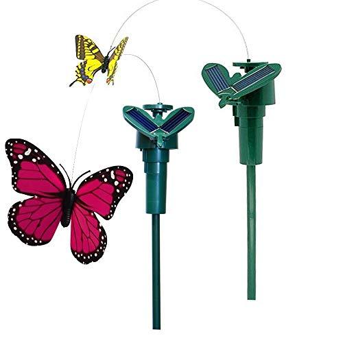 Vektenxi Premium Qualität 2X Tanzen Kreatives Spielzeug auf Gartengeräten Garten Rasen Blumentopf Blumenbeet Dekoration Ornament, Farbe Zufällig Solar Schmetterling