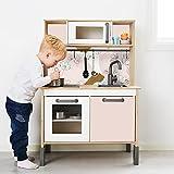 Aufkleber IKEA DUKTIG Kinderküche IKK-K702 Spielküche Klebefolie Möbelfolie Sticker Kinderzimmer Fliesen Metro Subway (Möbel nicht inklusive) (Blumen Rosa)