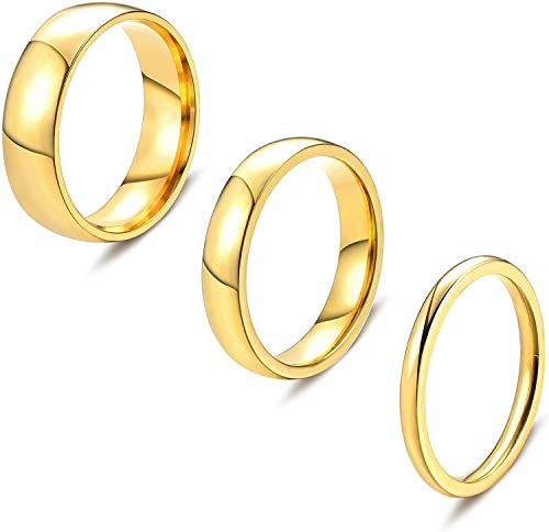 Milacolato 2 mm 4 mm 6 mm Anillos De Plata/Oro Anillos De Nudillos De Acero Inoxidable Anillos Apilables De Cúpula Lisa Alianza De Boda para Mujeres Hombres 3 Piezas
