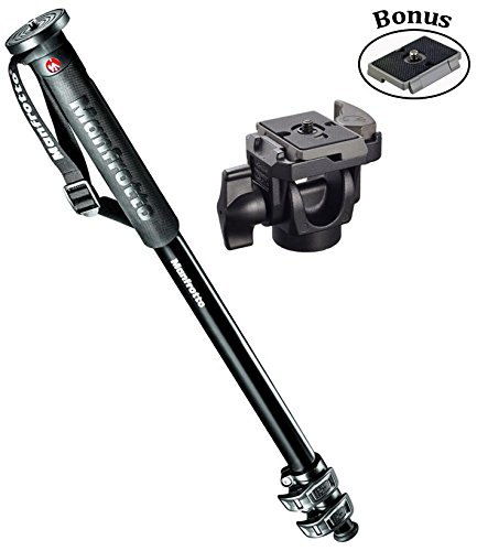Manfrotto New XPRO 3-Section Monopod Aluminum Monopod/234RC Head and a Replacement Quick Release Plates for the RC2 Rapid Connect Adapter