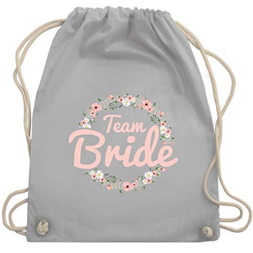 Shirtracer JGA Junggesellinnenabschied - Team Bride Blumenkranz rosé - Unisize - Hellgrau - turnbeutel team bride - WM110 - Turnbeutel und Stoffbeutel aus Baumwolle