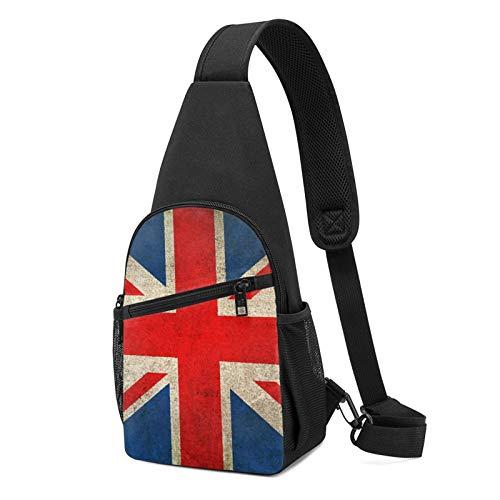 Sling Bag für Herren Anti-Diebstahl Schulterrucksack Leichte Crossbody Outdoor & Gym, Violett - Union Jack Flagge UK Damaged Art Schwarz - Größe: Einheitsgröße