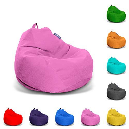 Sugarpufy Premium Sitzsack für Erwachsene XXL Sitzkissen Big Gaming Chair Weiche Sitzsäcke nur Indoor Bean Bag Hocker Rückenkissen mit Füllung (Pink, Baumwolle)