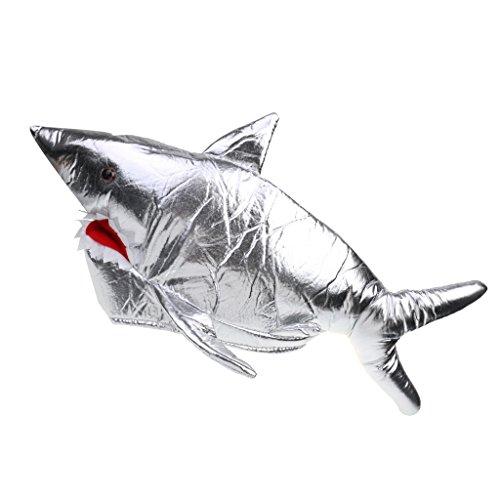 Gazechimp Karneval Zubehör Haifisch Mütze Silber zum Shark Kostüm