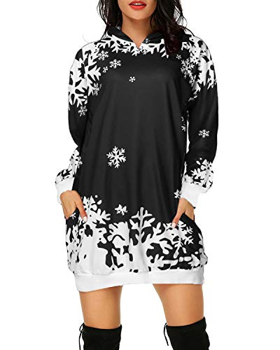 Auxo Women Christmas Hoodies Jumper Snowflake Reindeer Printed Oversized Pockets Tunic Pullover Sweatshirt Mini Dress Long Hooded 002-black 1 M