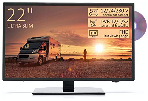 TV Full HD 22' para Autocaravana - DVD/USB/Ci+/Hdmi - 12/24/230V - Vesa - Ultra Slim Design