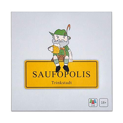 SAUFOPOLIS – Das kompromisslose Trinkspiel | Brettspiel - Partyspiel - Kartenspiel - Saufspiel - Für Erwachsene ab 18 Jahren