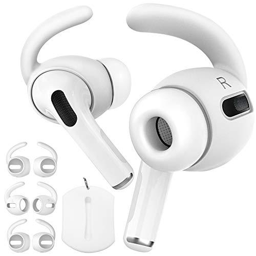 Demason 3 Pares Almohadillas Auriculares para Airpods Apple Pro3 Earpods Earhook, Almohadillas Auriculares Antideslizante de Silicona para iPods Pro Apple, Gancho para Oreja, Respuestos de Eartips