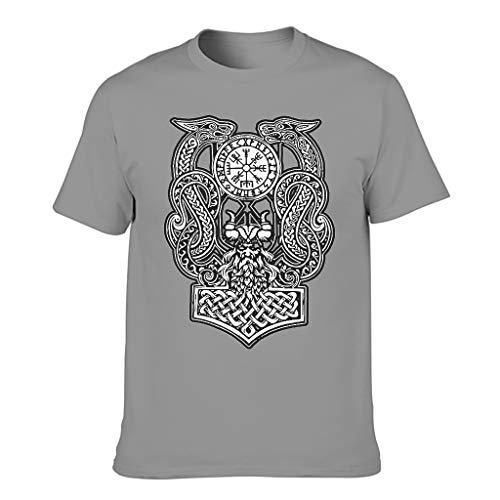 Lind88 Camiseta de algodón para hombre, diseño de dragón de Odin Viking
