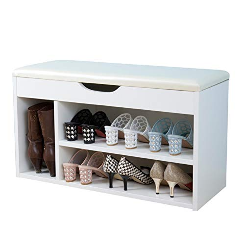 Cambio de zapatos de almacenamiento oculto Bota Organización de almacenamiento tapizado Banco de almacenamiento Zapato Rack Auricura con compartimento oculto bajo asiento de 2 niveles de banco Banco a
