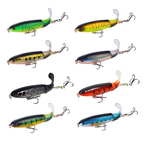 DOITPE Juego de señuelos de pesca, 8 piezas, señuelos de pesca con cola flotante giratoria de agua superior, cebos duros artificiales de hundimiento lento para pesca (8 señuelos de pesca)