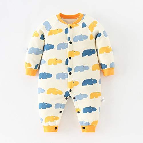 RIQWOUQT Bebé Onesies,Mono Infantil Amarillo con Estampado De Hipopótamo para Hombre Y Mujer En...