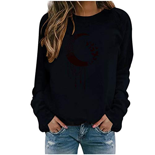 Masrin Mask Damen Sweatshirt Lässiger Mondschmetterling gedruckt Pulloveroberteile Langarmhemden Bluse(M,Schwarz)