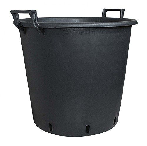 geli Thermo Plastic Pflanzcontainer aus Kunststoff mit Griff Schwarz, Durchmesser:60 cm