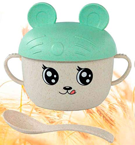 Learning Bowl Mug for Boys and Girls with Lid, Spoon and Handles, Breakfast, Lunch, Snacks and Dinners, Healthy and Fun Made with Wheat Straw, Eco-Friendly (Green with Ears)