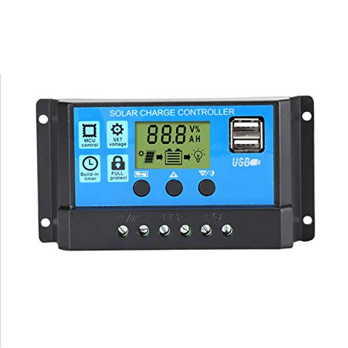 Solarladegerät Controller 60A 50A 40A 30A 20A 10A 12V 24V Batterieladegerät LCD Dual USB Solarpanel Regler Für Max 50V