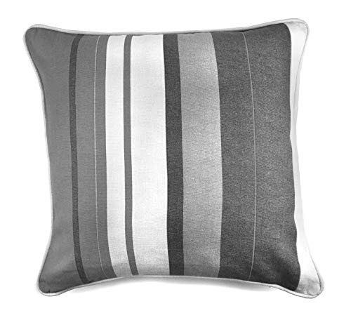 Fusion - Whitworth Stripe - 100% Cotton Cushion Cover - 43x43 cm in Grey