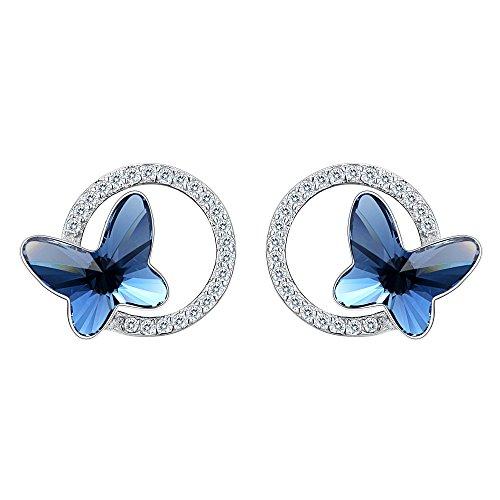 Pendientes Mujer - Clearine Aretes Mariposa y Círculo Plata 925 Cristal para Novia Boda Fiesta...