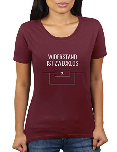 Widerstand ist zwecklos - Damen T-Shirt von KaterLikoli, Gr. L, Burgundy