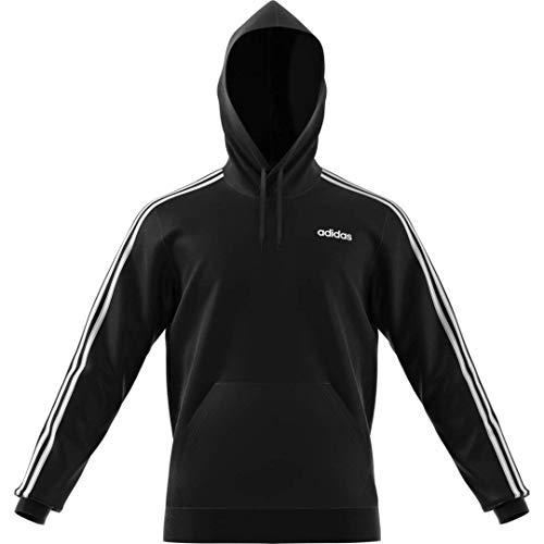 adidas Herren 3-Stripes Hoodie Sweatshirt mit Rundhalsabschnitt, schwarz, Medium