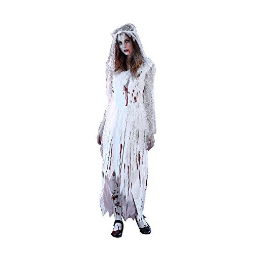 Fenical Frauen Cosplay Blut Corpse Bride Halloween langes Kleid Party Cosplay Kostüm mit Schleier - Größe M (weiß)
