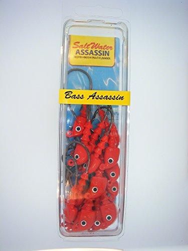 Bass Assassin Jig Heads Lure, 1/4-Ounce, Red Pumpkin, 18 Count (0.25 Ounce Jig Head)