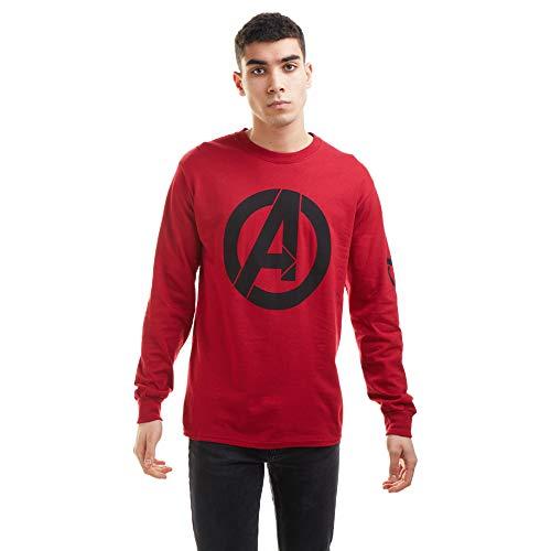 Marvel The Avengers Logo Long Sleeve Top Camiseta, Cardinal Red, Large para...