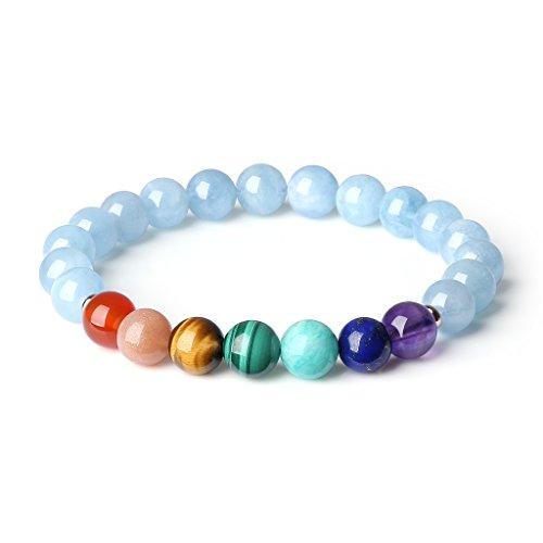 COAI® Pulsera Tibetana de Piedra 7 Chakra Cuentas Mala Aguamarina Genuina para Mujer M