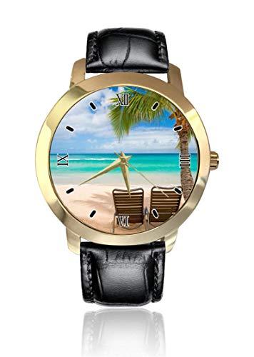Hawaii Sommer-Strand-Szenerie, Stühle, Armbanduhr, goldenes Zifferblatt, Unisex, legeres Lederband, Quarzuhrwerk, analoge Armbanduhr für Herren und Damen