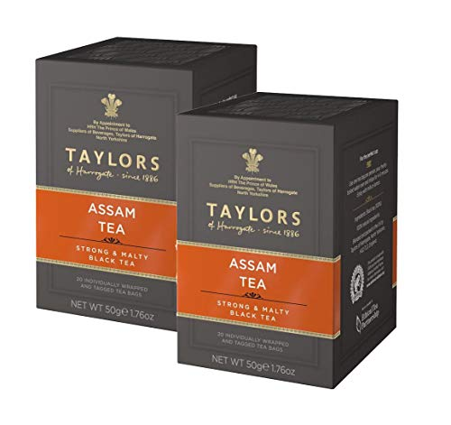 Taylors Assam Tea Strong & Malty Blaack Tea - 2 x 20 Individually Wrapped and Tagged Tea bags (100 Gram)
